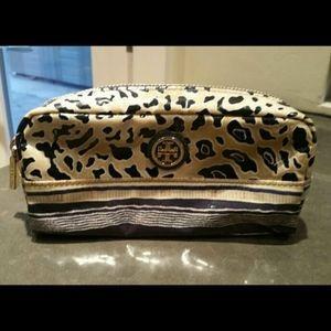 Tory Burch leopard animal print cosmetic bag